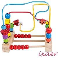 ixaer Bead Maze木製玩具、ローラーコースター/カラフルAbacus円Toy for Kids。