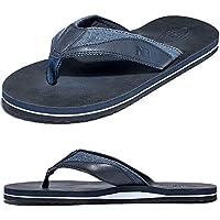 Anbenser Men's Flip Flops Leather Thong Sandals for Men Wide Width Arch Support Absorbs Shock