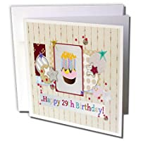 バースデーデザイン–コラージュの星、カップケーキ、and Candle、Happy 29日誕生日–グリーティングカード Individual Greeting Card
