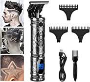New USB Rechargeable Cordless T9 Zero Gapped Baldheaded Hair Clipper Electric hair trimmer with LCD Display,Gr