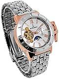 自動巻き 腕時計 スワロフスキー 時計 テンプスケルトン ホワイト文字盤 ピンクゴールド リューズカバー付き サン&ムーン 24時間針 金属ベルト 銀色 シルバー [並行輸入品]