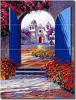 """ Into Serenity "" by Mikki Senkarik–上のアートワークタイルセラミックMural 24"" x 18""キッチンシャワーBacksplash"