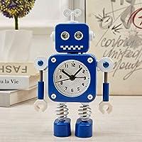 DBSCD 目覚まし時計学生の目覚まし時計付きナイトライトクォーツ目覚まし時計ミニ目覚まし時計漫画の目覚まし時計クリエイティブな目覚まし時計ロボット目覚まし時計(青2)