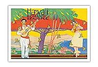 美しいハワイロマンチック - (サンフランシスコから)マトソン・ラインのアールデコ調カバー(ロサンゼルス)からLasscoライン観光パンフレット - によって作成された W. テイラー c.1931 - アートポスター - 76cm x 112cm