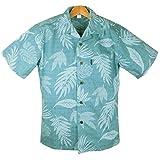 アロハシャツ メンズ レイクブルー/リーフ柄 ハワイ仕入 コットン 青緑色・裏生地風 大きいサイズ有 (US Mサイズ)