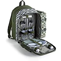 VonShef Picnic Backpack with Insulated Cooler Compartment - Green (2 Person)