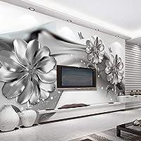 Minyose 壁紙 カスタム大3D壁紙壁画手描き水彩フラミンゴ熱帯ヤシの葉3D壁紙ウォールステッカー