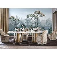 Ljjlm ヴィンテージ壁紙ステッカー漫画熱帯ジャングル壁画3Dリビングルームの寝室の自己接着壁紙-420X280cm