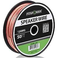 FosPower 12AWG 純銅 高純度OFC スピーカーケーブル / スピーカーワイヤー【12ゲージ | 15メートル】アンプやA / Vレシーバにオーディオスピーカーを接続