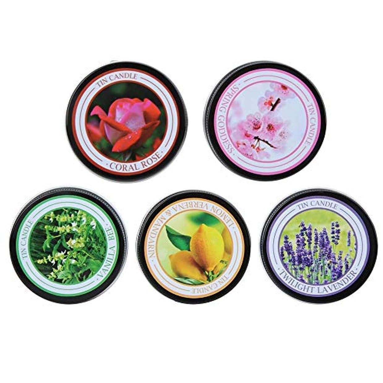 アジア人本気かどうかアロマセラピーキャンドルギフトセット、5PCS軽量ポータブル天然大豆ワックスプラントエッセンシャルオイル環境に優しい無煙アロマセラピーキャンドル、旅行用、ヨガ(5個)