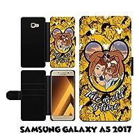 Samsung Galaxy A5 A520 2017 ケース Disney Valentines Couple Belle Beast Beauty and The Beast ファンアート ボタン マグネット式 落下防止 衝撃吸収 財布型 ケース カバー スタイリッシュ 横置き 耐衝撃 傷つけ防止