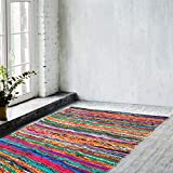 Eleet Eco Friendly 100% Recycled Cotton Chindi Rug - Hand Woven & Reversible for Living Room Kitchen Entry Runner (4x6 Feet,