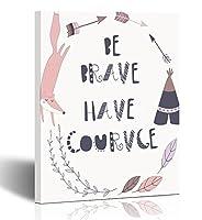 emvency絵画壁アートキャンバス印刷正方形12x 12インチCute Fox Laurelsと矢印in Cartoon Style ' Be Brave Have Courage '装飾木製フレーム 12x16