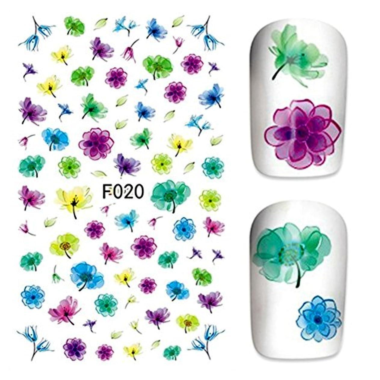 瞑想上がるリフト水彩 お花パターンネイルステッカー ネイルシールネイルアートパーツ