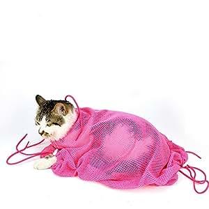 おちつくネット ペット用 メッシュネット ねこ用みのむし袋 爪切り シャンプー 通院 耳掃除 ペット用品 猫 多機能 洗浄 固定 (ピンク)