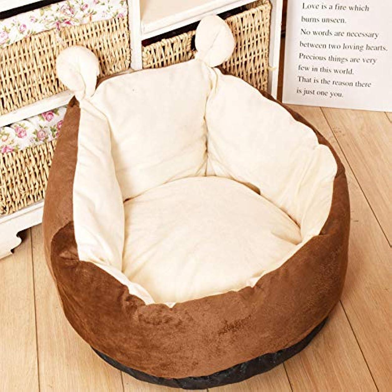 構築するではごきげんようシンポジウムペットハウス 猫の家 快適な猫ソファ猫のくず巣取り外し可能なペットベッドマット犬小屋犬小屋かわいい深い眠っているペットクッションブラウンL 60X53X30Cm