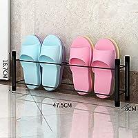 靴箱_家庭用シンプルなバスルームスリッパ、バスルームシンプルなモダンな鍛造鉄ストレージダブルスモールシューズラック(黒/白)47.5 * 8 * 16.7センチメートル