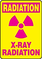Accuform Signs MRAD514VS Adhesive Vinyl Safety Sign Legend RADIATION X-RAY RADIATION with Graphic 14 Length x 10 Width x 0.004 Thickness Magenta on Yellow [並行輸入品]