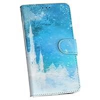 Xperia XZ3 801so専用手帳型ケース スマホ カバー レザー ケース 手帳タイプ フリップ ダイアリー 二つ折り 革 お城 雪 結晶 011329