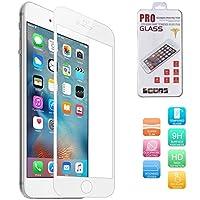 (ギジ)GIZEE iPhone 6 plus iPhone6s plus液晶保護ガラスフィルム 0.33 mm 9H 飛散防止 5.5インチ 全面保護 アルミフレーム 保護フィルム ラウンドエッジ(ホワイト)