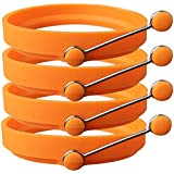 Newthinking Silicone Egg Ring, 4 Pack Non-Stick Egg Maker Molds with Handle for Frying McMuffin or Shaping Eggs (Orange)