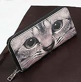 ねこちゃん好きに ネコ 猫 顔 ドアップ 柄 長財布 ラウンドファスナー 開閉 レザー ロング ウォレット レディース サイフ (でか目)