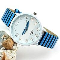女性の女の子の腕時計、創造的なゼブラストライプの女の子の学生の装飾の腕時計_青