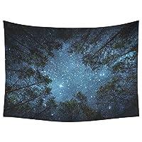 (インタレストプリント) InterestPrint ウォールハンギングアートセット 美しい夜空 ウォールアート ホームデコレーション 銀河と木々 コットンリネンタペストリー 60インチ×90インチ 80 X 60 inch