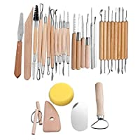 Agile-Shop 30 PCS Wood Handle Pottery Sculpting Clay Carving Modeling DIY Craft Tool Set [並行輸入品]