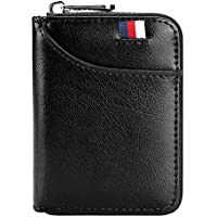 Hibate 12 Cards Slots Leather Credit Card Holder Wallet RFID Blocking for Men Women Business ID Case Zipper Pocket Purse