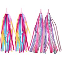 LIOOBO 2 Pairs Kids Colourful Bicycle Streamers Bike Handlebar Streamers Tassel Ribbons for Boys Girls