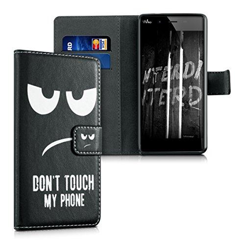 kwmobile 人工皮革 財布ケース フリップカバースタイル Wiko Tommy用 白色黒色 - カード入れとスタンド機能付き