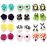 Multi Pairs Cute Animals Flower Resin Studs Earring Set For Girls, Hypoallergenic