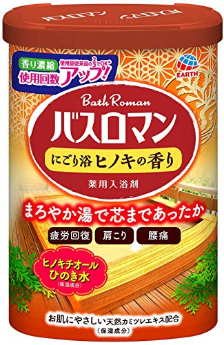 【医薬部外品】 アース製薬 バスロマン 入浴剤 にごり浴 ヒノキの香り 600g