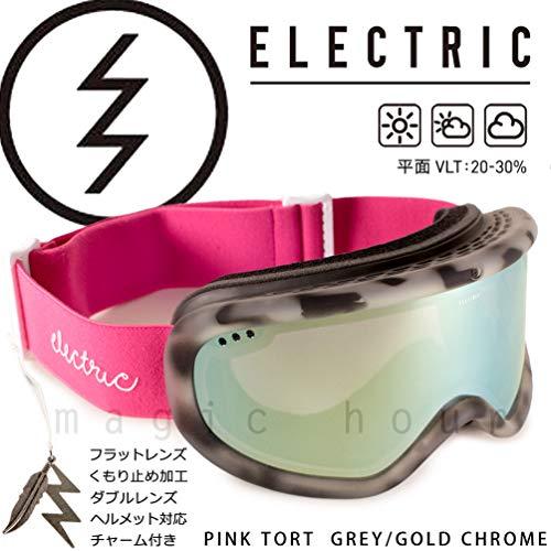 (エレクトリック) ELECTRIC CHARGER AF メンズ レディース スノーボード スキー ゴーグル スノボ ボード用 スノーゴーグル アジアンフィット ミラー加工 くもり止め 平面 ダブルレンズ PINK TORT GREY/GOLD CHRO