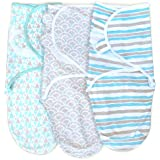 3 Pack Organic Cotton Adjustable Infant Swaddles for Safe and Sound Sleep, Self Fastening, Ages 0-3 Months Aqua/Gray
