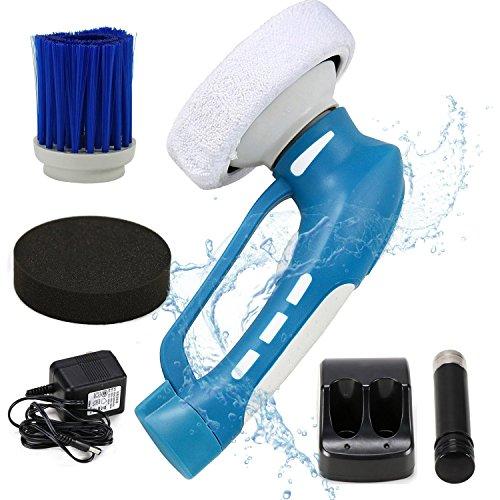 EVERTOP コードレス掃除ブラシ 充電式電動洗車ブラシ 3種類プラシ付き ワックスがけ 研磨用 防水仕様 長持ち省エネルギーバッテリー