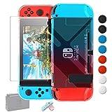 FYOUNG Nintendo Switch用カバー 強化ガラス保護フィルム ドックにサポート 任天堂スイッチ用ハードケース Joy-Con用カバー ガラス飛散防止/指紋防止/気泡ゼロ/耐衝撃/着脱簡単/ブルーライトカット/アンチグレア (グラデーション)