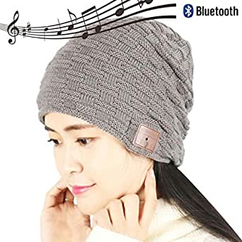 supersakura bluetooth ニット 帽子 メンズ ワイヤレス音楽帽  (ダークグレー)