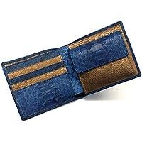 AIZOME-PY1014-2 財布 二つ折り財布 折り財布 革財布 サイフ さいふ 札入れ パイソン革 蛇革 牛革 小銭入れあり カード収納 本革財布 日本製 藍染