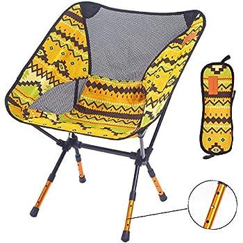 アウトドアチェア(進化版高さ3段調節可)【耐荷重150kg】FASAZ 折りたたみ 超軽量 コンパクト イス 椅子 収納袋付属 お釣り 登山 携帯便利 キャンプ椅子 (イエローY)