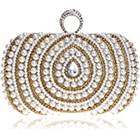 Redland Art Women's Fashion Mini Pearl Beaded Clutch Bag Wristlet Evening Handbag Catching Purse for Wedding Party (Color : Golden)