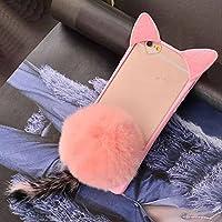 Huawei Mate8 Case, Soft Cat Ear Shaped Fluffy Plush Tail Villi Warm Hair Ball Clear Back Cover, TAITOU Beautiful Cute Bumper Ultra Thin Slim Phone Case For Huawei Mate 8 Pink