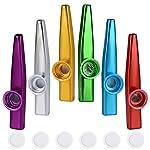 カズー 6個セット 金属製 振動膜 6枚付き メタルカズー 銀 赤 青 黄 緑 紫 ホイッスル 管楽器
