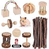 Hilitchi Guinea Pig Small Pets Toys Set Molar Natural Wooden Pine Dumbells Exercise Bell Roller Apple Sticks Pet Chew ToysFun Pet Balls for Chinchilla Hamster Rat Birds Bunny Rabbits Gerbils (8PCS)