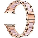 エルメス 時計 V-Moro のバンドの腕時計 42 mm - V モロローズゴールドステンレススチール女性女の子の iWatch バンドストラップ樹脂バンドのブレスレットのためのアップルの iWatch シリーズ 3,2,1 、スポーツ、エルメス(ピンク、 42 mm ( 5 「 -7.87 」))
