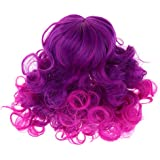 Prettyia Fashion Middle Parting Style Curly Hair 28-30cm 11-12inch for 18inch American Girl Doll Purple Wig