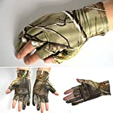 Rajendram Fishing Gloves,Camouflage Anti-Slip Elastic Thin Mitten, 3 Fingers Cut Camping Cycling Climbing Skiing Hunting Half-Finger Gloves