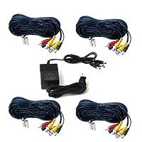 VideoSecu 4パックオーディオビデオ100ft HDセキュリティカメラケーブルpre-made All - in - One BNC電源拡張配線コードfor 720p 960p 1080p 960h CCTVシステム、1の4チャンネル12V DC 2A電源供給WUV