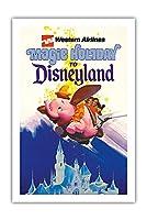 ディズニーランドへの魔法の休日 - ウェスタン航空 - ダンボザフライングエレファント - ビンテージな航空会社のポスター c.1970s - プレミアム290gsmジークレーアートプリント - 61cm x 91cm